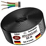Cable de alimentación subterráneo 5 10 15 20 25 30 35 40 50 75 80 o 100m, NYY-J 3x2,5mm², anillo de ...