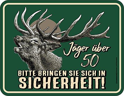 RAHMENLOS Original Blechschild zum 50. Geburtstag: Vorsicht Jäger über 50!