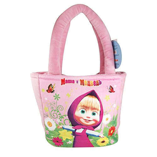 """Kinder Tasche mit Mascha aus Multi-Pulti \""""Mascha und der Bär\"""" / 20 cm / weich und kuschelig (Pink/Rosa)"""