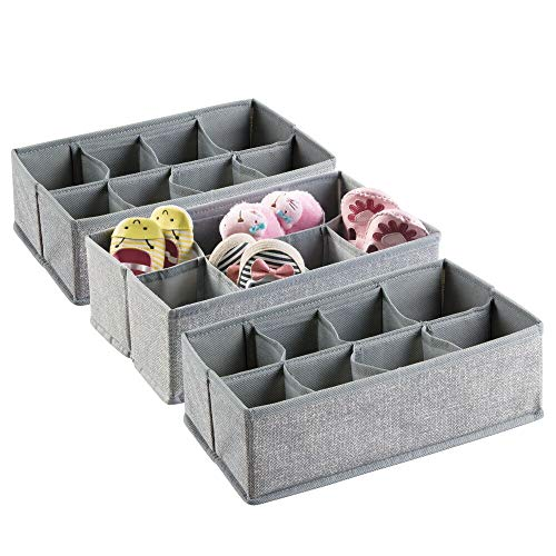 mDesign Soft Fabric Dresser Drawer and Closet Storage Organizer, 8 Section Divided Bin for Child/Kids Room, Nursery, Playroom, Bedroom - Textured Print with Solid Trim, 3 Pack - Gray