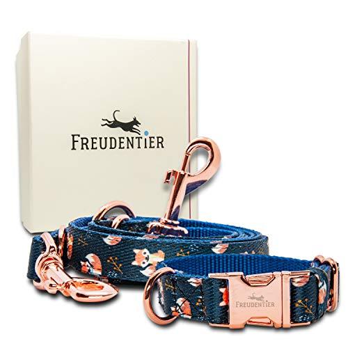 FREUDENTIER® Hundehalsband & Hundeleine im wundervollen Set | Inkl. Geschenkbox | Let's get Foxy Kollektion | Winterfest & Pflegeleicht (41-63cm)