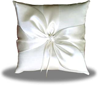 White Little World Ring Pillow Pearls Decor Bridal Wedding Ring Bearer Pillow 7.8 Inch x 7.8 Inch