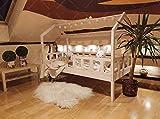 Oliveo Mon lit cabane Barrières de sécurité, Lit pour Enfants,lit d'enfant,lit cabane avec barrière Bois Naturel, 5 Jours Livraison (190 x 90 cm, Barrières de sécurité: avec)