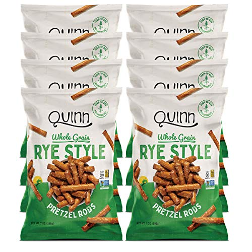 Quinn Snacks Non-Gmo and Gluten Free Pretzels, Deli Style Rye, 7 Oz Bag (8Count)