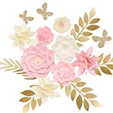 Ling's moment Paper Flower Decorations Set of 8 Flowers, Several Leaf and Accessories, Nursery Wall Monogram Sign Decorations, Pink Cream Cardstock Peony Rose Lily Leaf Butterfly Assorted for Baby Shower, Birthday, Bridal Shower, Wedding