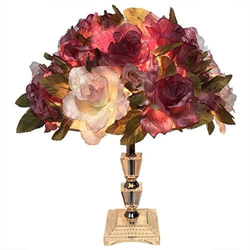 DJY-JY Lámpara de escritorio creativa, moderna, romántica, rosa LED, luz nocturna con diseño de flores de rosa, lámpara K9 para decoración, regalo, dormitorio, sala de estar de alto gusto