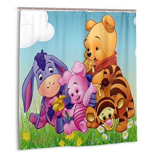 Winnie The Pooh Duschvorhang Lustige wasserdichte Duschvorhänge Badvorhang Bad Set mit 12 Haken für Home Badezimmer Dekoration 66x72in