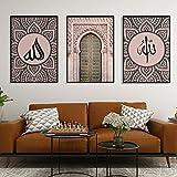 Cuadro con estampado musulmán, Alá islámico, arte de pared, lienzo, póster, rosa, puerta vieja, decoración nórdica moderna para sala de estar, 23,6 'x 31,5' (60x80 cm), 3 piezas sin marco