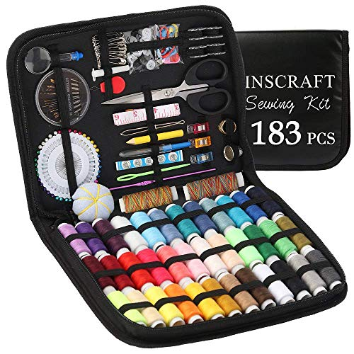 Sewing Kit, 183 Premium Sewing Supplies, 38 XL Thread Spools, Suitable for Traveller, Adults, Kids, Beginner, Emergency, DIY and Home by Inscraft