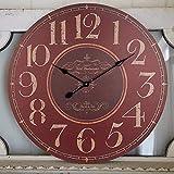 Reloj de pared grande, 60 cm, estilo rústico, Hotel Westminster, reloj decorativo silencioso, funciona con pilas, no tic-tac, reloj de madera para casa, salón, comedor, dormitorio (rojo vintage)