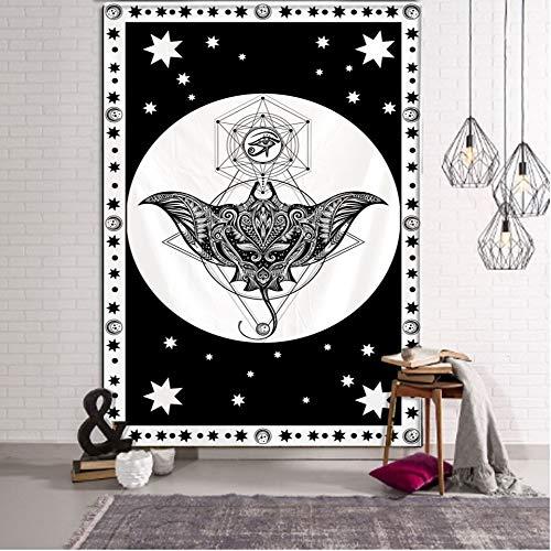 WERT Tapiz con Estampado de Mandala Multicolor, Tapiz de Tela de Fondo para decoración de Dormitorio de Pared India A20 150x200cm