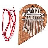 Fuaensm Mini portátil en forma de corazón placa de sapele de 8 teclas Kalimba pulgar Piano profesional Mbira Sanza dedo práctica instrumento musical para niños adultos principiantes regalos, Derecha,