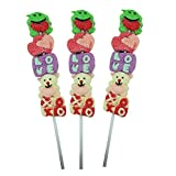Valentine's Day Marshmallow Kabobs, Cute Love Shaped Candy Skewers for Kids Classroom Parties, Pack of 3