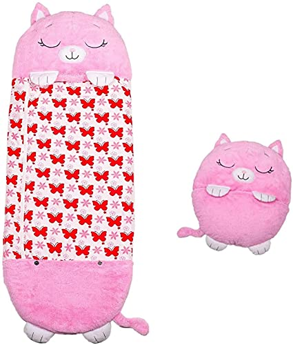 Saco de dormir grande para niños, almohada de 180 x 63 cm, saco de dormir con animales de dibujos animados, almohada 2 en 1, plegable como un cojín suave y cómodo, un regalo sorpresa para niños