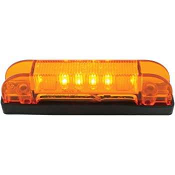 "Grand General 76220 4"" Long Thin Line Wide Angle 6 LED Amber/Amber Marker & Clearance Light"