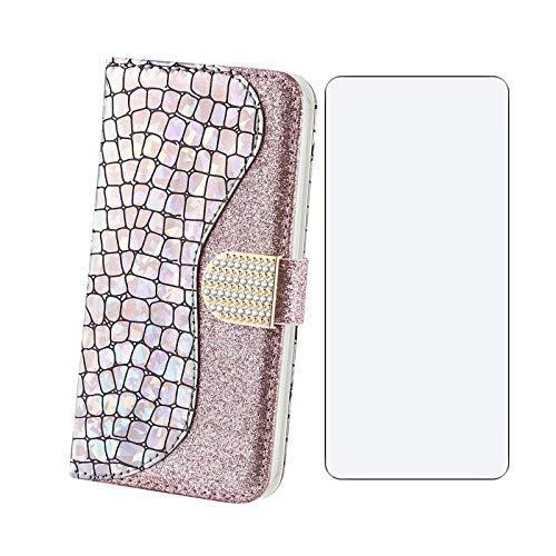 ELANG Wallet case for Samsung Galaxy M12 Phone case, Leather Folio Protective Cover, Magnetic Closed Bumper, for Samsung Galaxy M12 Shockproof case (Pink) + 1 tempePink Film
