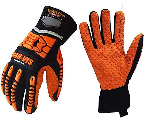 Seibertron HIGH-VIS SDXO2 Super Grip et des gants remplis de gel avec protection d'impact/oléofuge haute résistance aux chocs de sécurité avec des protecteurs impacts des mines gant L