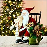 """Glitzhome 18"""" H Christmas Sitting Santa Figurine W/Wooden Rocking Chair Christmas Figure Decoration Holiday Party Ornaments"""