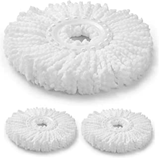 3 PC Spin Mop Replacement Head Round Shape Standard Size Microfiber Mop Head Refills for Standard Size Spin Mop Systems