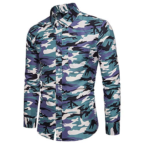 Men's Shirt Basic Slim Fit Long Sleeve Elegant Kent Collar Chest Pockets Work T Shirt Stretch Formal Camouflage Shirt Business Leisure Fashion Shirt Party Classic Breathable Tops Men 3XL