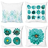ABAKUHAUS Floral Set de 4 Fundas para Cojín, Flor acuática Paleta de Colores, Estampado Digital en Ambos Lados y Cremallera, 50 cm x 50 cm, Blanco y Turquesa