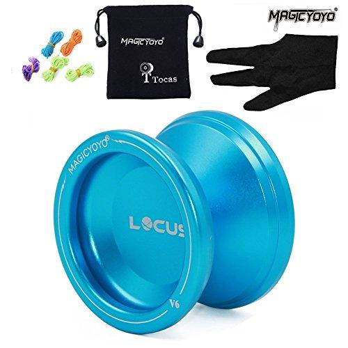 Magic Yoyo Anfänger JoJo V6 LOCAS Reaktionsfähiger Yo-yos Pro Jo-jos Metal Yo Yo mit Tasche Handschuh 5 Saiten für Kinder DunkelBlau