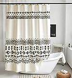 Uphome Boho Langer Stall Duschvorhang schwarz & beige Stoff geometrisches Duschvorhang-Set mit Haken Tribal Triangle Streifen Badezimmer Vorhang Dekor, strapazierfähig wasserdicht, 54 x 78 cm