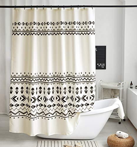 Uphome Boho Shower Curtain Black and Beige Fabric Geometric Tribal Shower Curtain Set with Hooks Modern Ethnic Bohemian Bathroom Curtain Decor,Heavy Duty Waterproof, 72x72