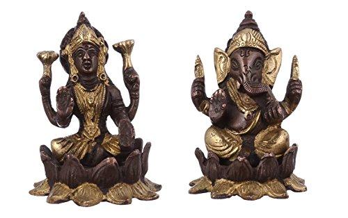 purpledip Lakshmi Ganesha auf Lotus Flower: Messing Statue Set in einzigartigen kupfergold Finish; seltene Sammlung Idols für Home Tempel (10947)