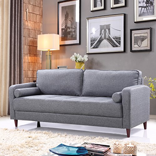 Divano Roma Furniture Middle Century Modern Linen Fabric Living Room Sofa (Light Grey)