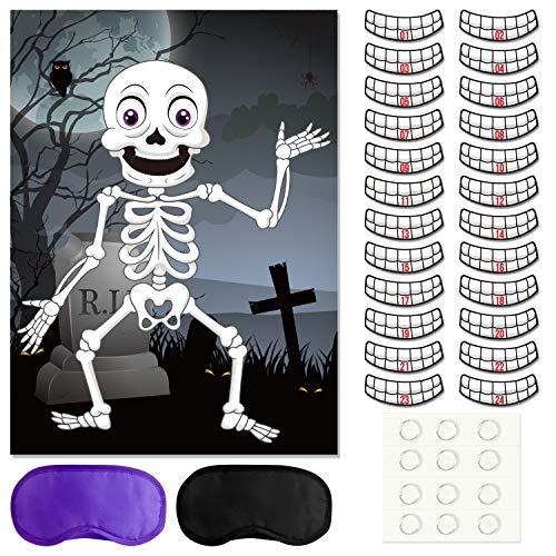 FEPITO Pin die Zähne auf dem Skelett Schädel Halloween Party Spiel Zähne Aufkleber für Halloween Party Gefälligkeiten, Halloween Dekorationen