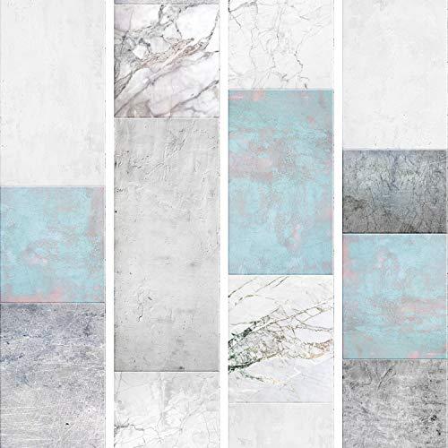 murando - PURO TAPETE - Realistische Tapete ohne Rapport und Versatz 10m Vlies Tapetenrolle Wandtapete modern design Fototapete - Marmor blau weiß f-A-0706-j-a