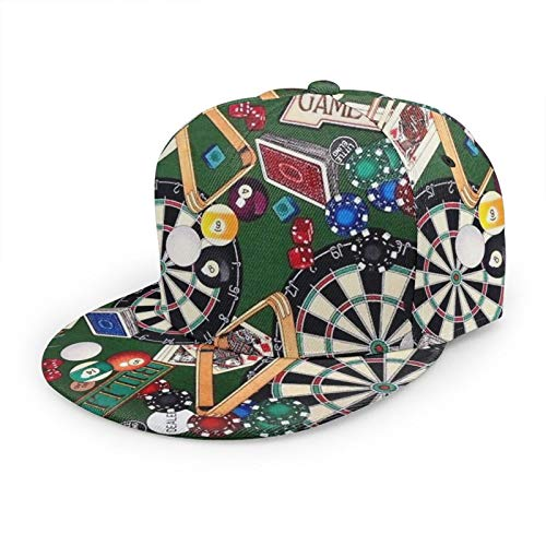 Shanzhi Gorra de béisbol casual para sala de juegos, billar, tarjetas de dardos ajustables, sombrero de hip hop, gorra de camionero al aire libre para hombres y mujeres