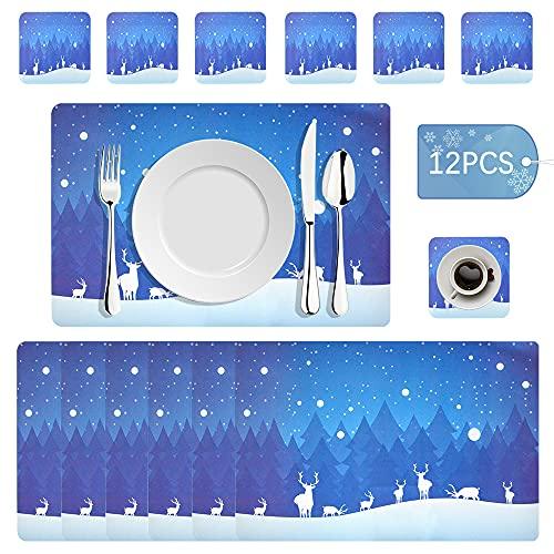 Juego de manteles individuales para Navidad, lavable, resistente al calor, para mesa de Navidad, juego de manteles de Navidad