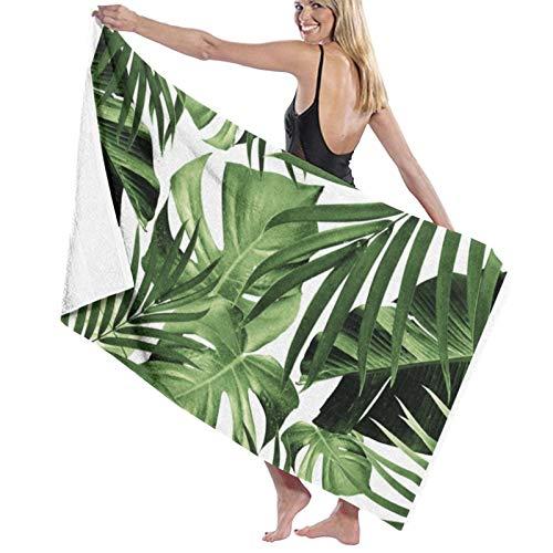 Toallas de baño con patrón de hojas de selva tropicales, súper suaves, de microfibra, toalla de playa, toalla de baño, manta para viajes, deportes, 31.5 x 52 pulgadas