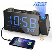 Moskee Projection Alarm Clock Digital Black Dual Alarm Clocks for Bedroom with FM Radio Indoor Thermometer LED Display Classic Style