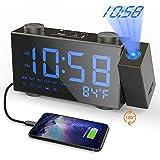 Moskee Projection Alarm Clock Digital Black Dual Alarm Clocks for Bedroom with FM