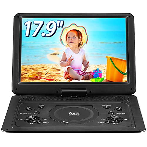 """DR. J 17.9' Region Free Portable DVD Player with 6 Hours Rechargeable Battery, Large 15.4"""" Screen DVD Player Sync TV Support USB/SD Card and Multiple Disc Formats, High Volume Speaker Black"""