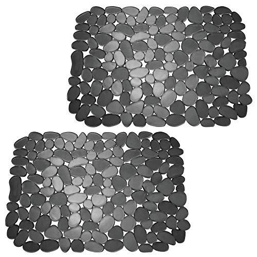 mDesign Set da 2 Tappetini per il lavandino – Tappetino protettivo pratico di misura adattabile – Tappetino lavello in PVC per proteggere lavabo e stoviglie – nero