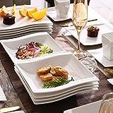 MALACASA, Serie Flora, 56 TLG. CremeWeiß Porzellan Geschirrset Kombiservice Tafelservice mit je 6 Schälen, 6 Tassen, 6 Untertassen, 12 Dessertteller, 12 Suppenteller, 12 Speiseteller und 2 Platte - 4