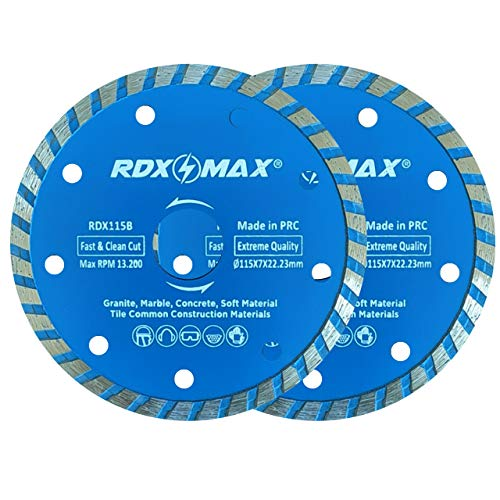 RDXMAX ® 115mm Diamond Cutting Discs for Angle Grinder | Pack of 2 – Fast,...