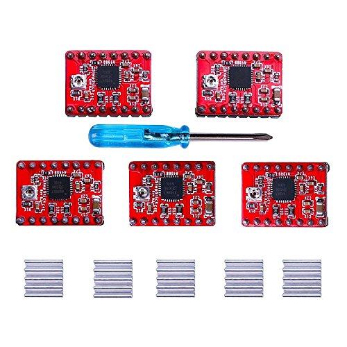Elegoo A4988 Stepper Motor Driver Module Stepstick with Headsink for Arduino, 3D Printer, CNC Machines, Robots, Reprap (Pack of 5)