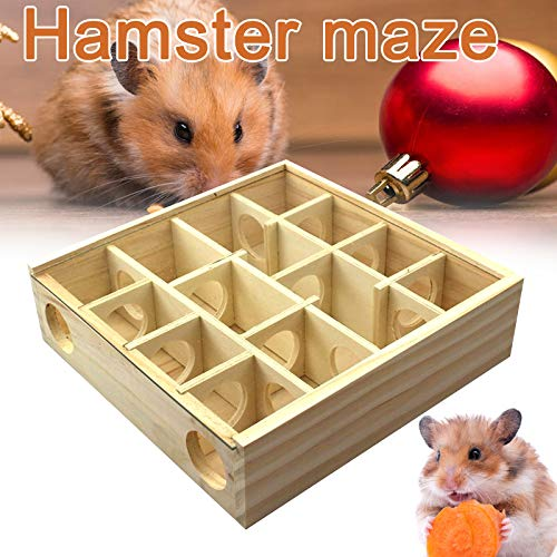 Gizayen Wooden Maze Tunnel Toy, Small Pet Animals Activity Sport Gerbil Labyrinth Dwarf Hamster Play Toys Maze Tunnel Mice Wooden Funny Toy