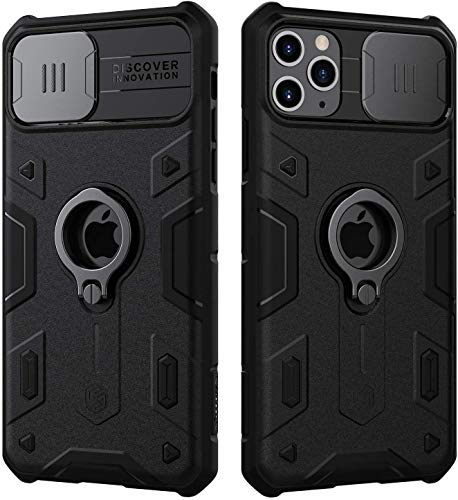 Ezanmull iPhone 11 Pro Max Case, CamShield Armor Case with Slide Camera Cover, PC & TPU Impact-Resistant Bumpers Protective Case with Ring Kickstand for iPhone 11 Pro Max 6.5 inch (Black)