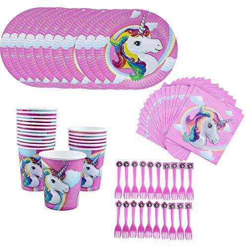 Amycute 80 -Teiliges Regenbogen-Einhorn-Partyzubehör-Set mit Teller, Becher, Servietten, Gabeln für Kinder Geburtstagsgeschenk,Kindergeburtstag,Party Deko.