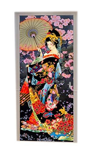 A.Monamour Türtapete Selbstklebend Türfolie Türposter 3D Traditioneller Japanischer Frauen Geisha-Weinlese Blumen Hintergrund Vinyl Folie Türdeko Tapete Wandbild Türaufkleber Türtattoo 77 x 200 cm