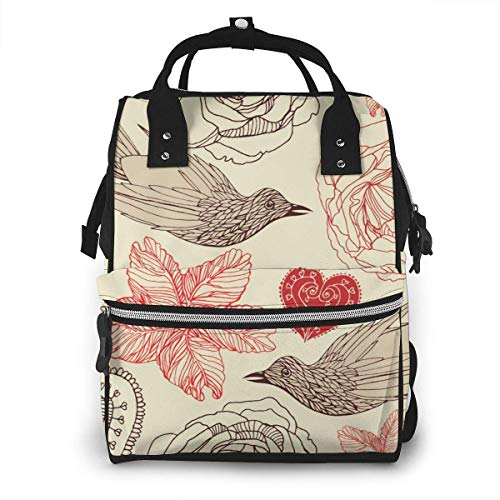 NHJYU Sac à langer, Large Capacity Waterproof Travel Ma-na-ger,baby Care Replacement Bag Versatile Stylish And Durable, Suitable For Mom And Dad,Vintage Birds Pattern Vector Image