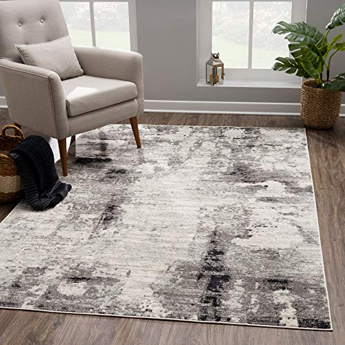 Modern Cream Gray Area Rug - Contemporary Abstract Watercolor 8x10 Rug for Living Room, Bedroom and Kitchen (7'10' x 10') by Bloom Rugs