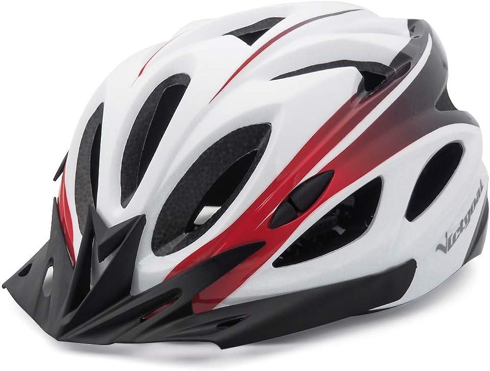 Victgoal casco unisex da bici per adulti, con luce a led, con visiera di sicurezza rimovibili, 57-61 cm HT-13A