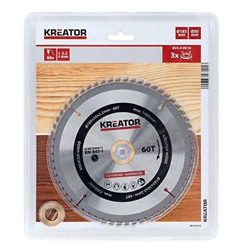 KREATOR KRT020415 - Disco de sierra madera 185mm60d